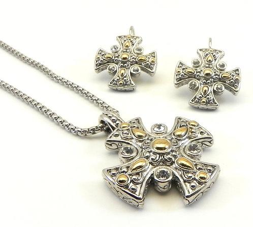 "Designer Inspired Maltese Cross Crystals 2-Tone 16.5"" Necklace- Earring Set"