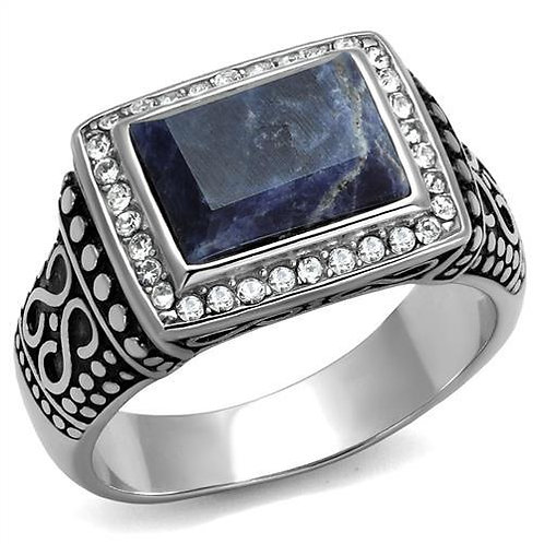 Bali Inspired Blue Sodalite & Pave Set CZ's Stainless Steel Men's Ring  Sz 8-13