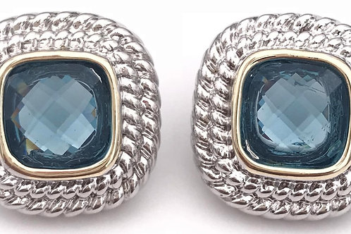 Classic Cable Designer Inspired Square Cut Sea Blue CZ  Earring