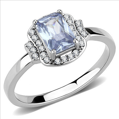 Cushion Cut Light Amethyst CZ- Halo & Side Accents Stainless Steel Engagement
