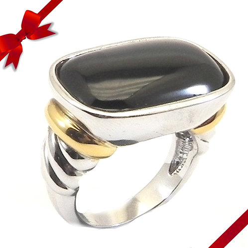 Classic Cable Designer Inspired 2-Tone Simulate Onyx Ring 6-7-8