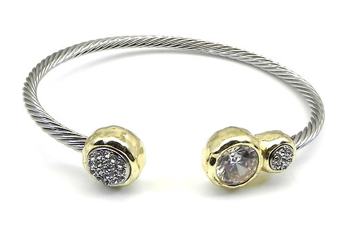 Cable Designer Inspired Round Cut CZ & Pave Stainless Steel Bracelet Cuff
