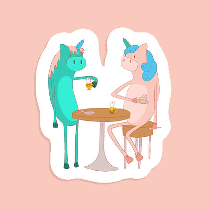 Unicorn Teaparty - Large Sticker - Paper Sticker