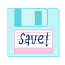 A floppy disk with the word save on the front