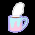 Blue and pink coffee mug with hot coffee inside
