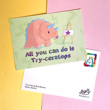 Try-ceratops - Postcard - Mail - Greetings - A6