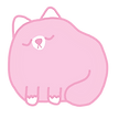 Round pink cat with its eyes closed