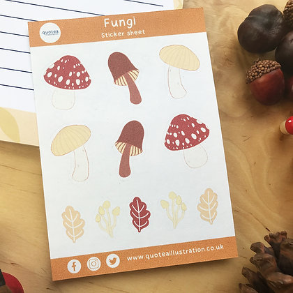 Fungi - Sticker Sheet - Planner Stickers - Biodegradable