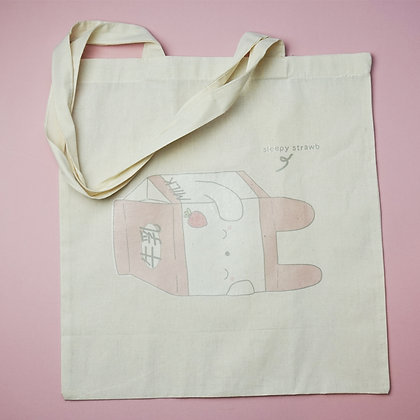 CLEARANCE Tote Bag - Natural - Kawaii - Cute - Strawberry Milk - Handbag - Purse