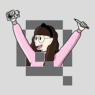 A girl in a pink sweater, poking through a Q and holding a controller and a pencil.
