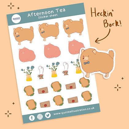 Afternoon Tea - Sticker sheet - Paper stickers - biodegradable
