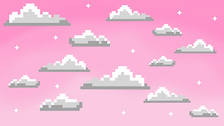 Ombre purple background with pixel clouds on it