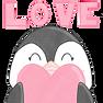 Penguin holding a heart