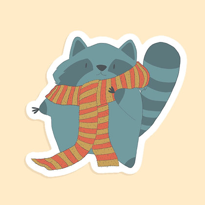 Cosy Raccoon - Large sticker - Paper Sticker