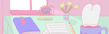 A drawn desk scene featuring a coffee mug, book, paper, a pencil, two plants and a window