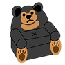 A chair in the theme of a black bear