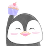 Penguin holding a Cupcake