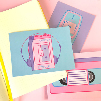 Casette Player - Postcard - Mail - Greetings - A6