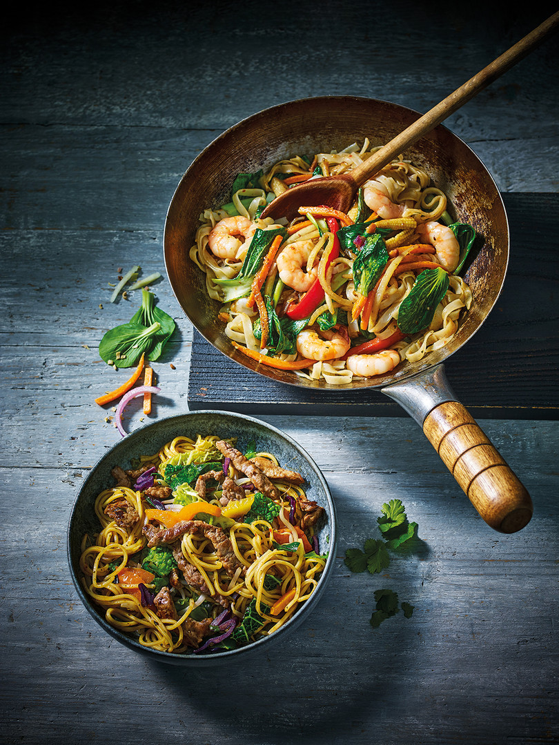 To make the perfect stir fry just add M&S black bean sauce and noodles to veggies and meat.