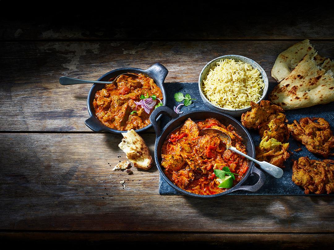Chicken Jalfrezi, Pilau Rice, Lamb Rogan