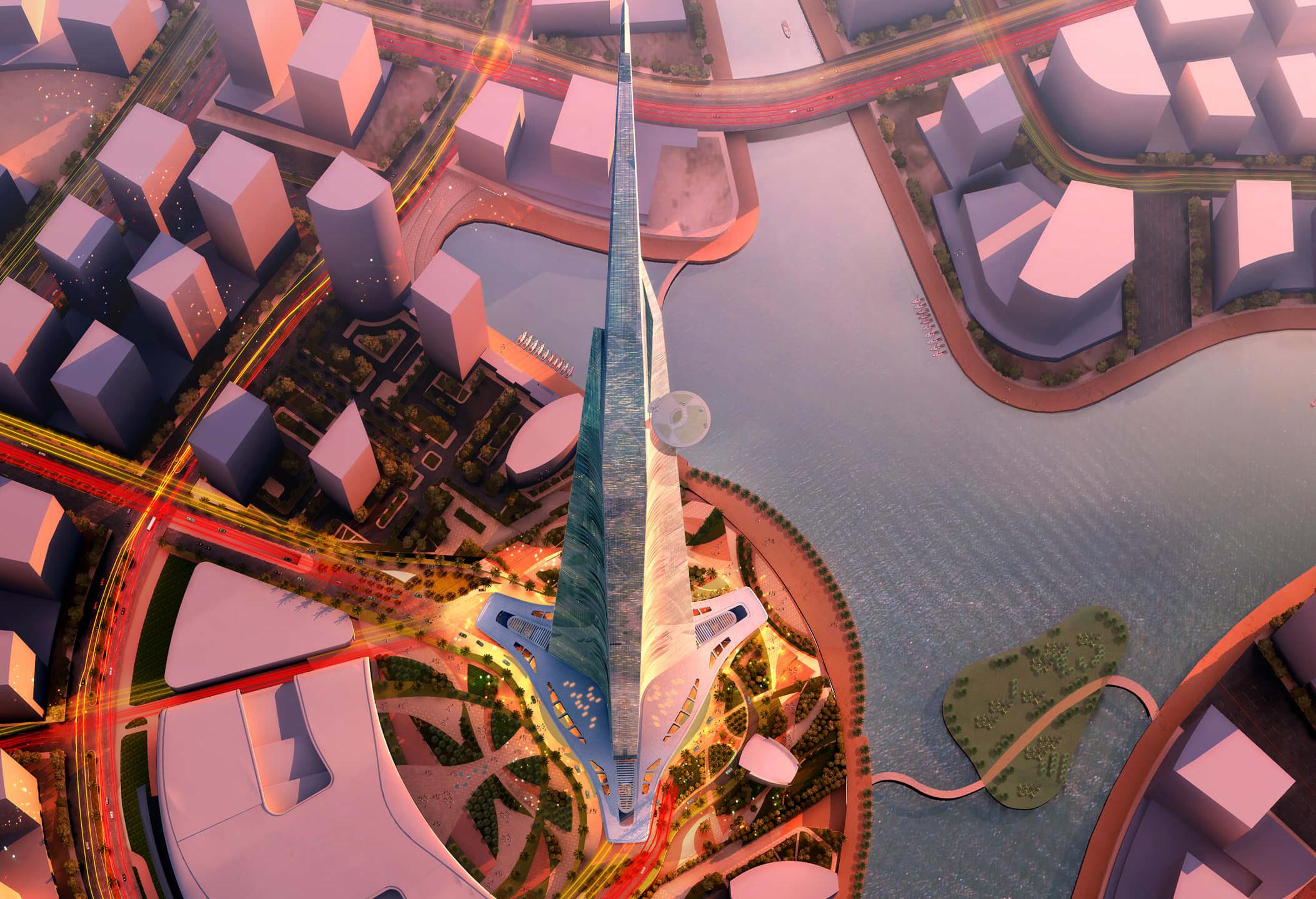 Konzeptzeichnung des Jeddah Tower aus der Luft