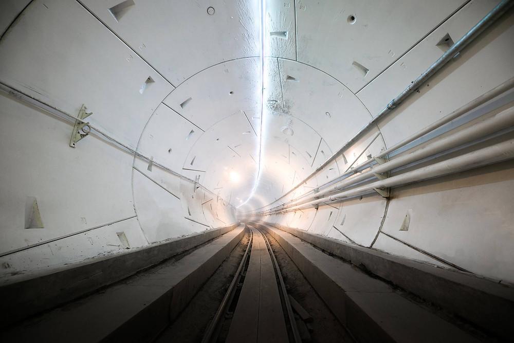 Der fertige Tunnel der Boring Company von Elon Musk