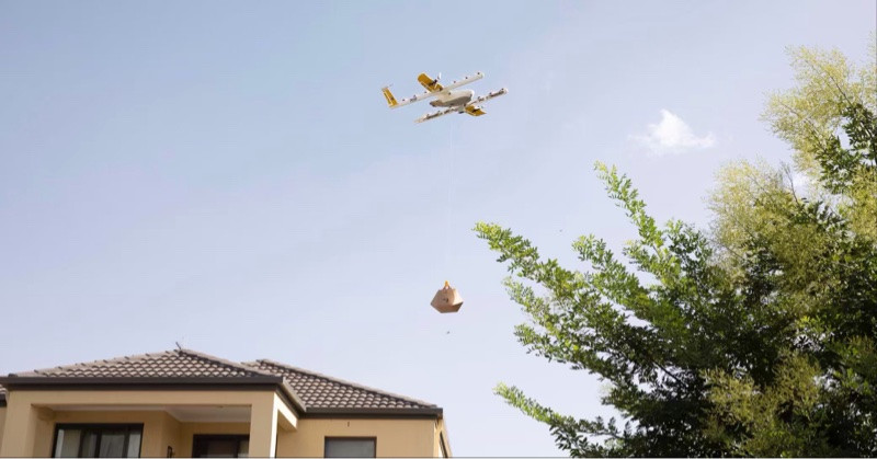Eine Drohne von Wing im Einsatz - Quelle: Wing