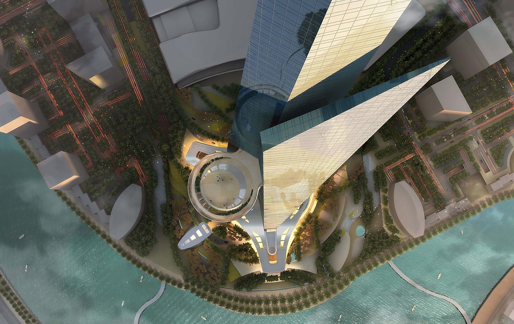 Design des Jeddah Tower in Saudi-Arabien aus der Luft, ehemals auch Kingdom Tower genannt.