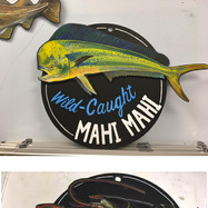 Whole Foods Market™ chalk art, 2018. Removable fish rotating seafood chalkboard.