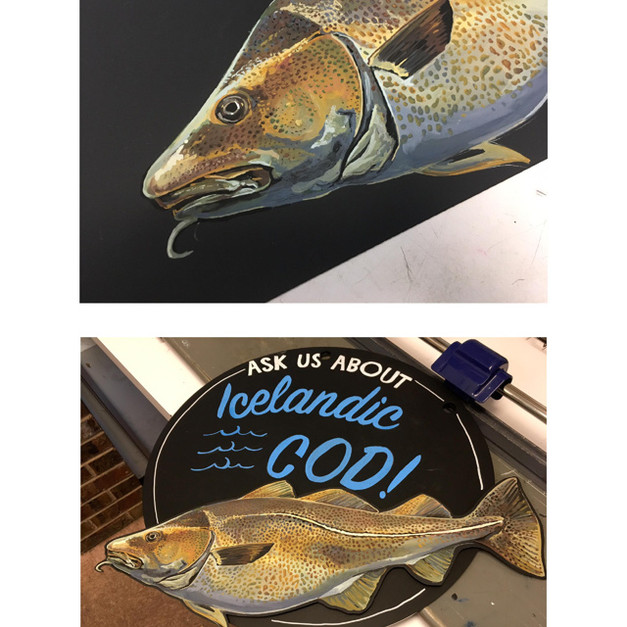 Whole Foods Market™ seafood chalk art + detail, 2018