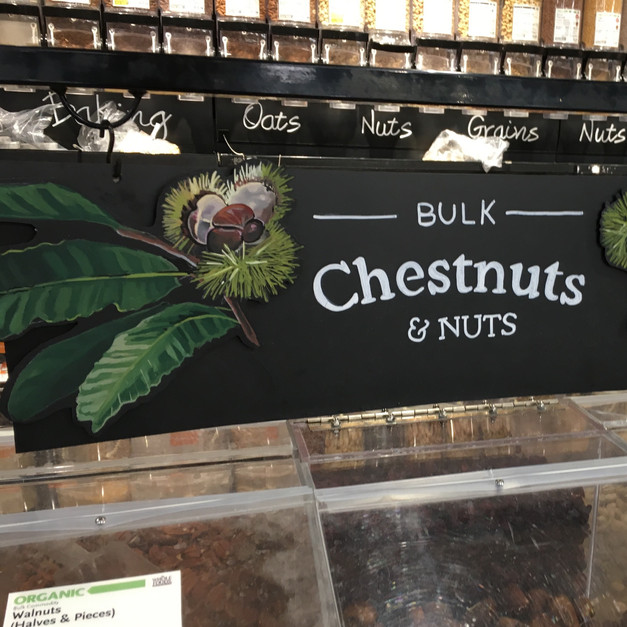 Whole Foods Market™ christmas chestnut display, detail, 2017.