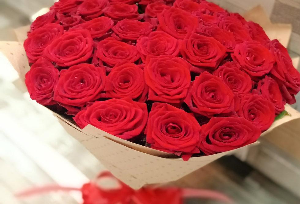 Бордовые розы 51 шт