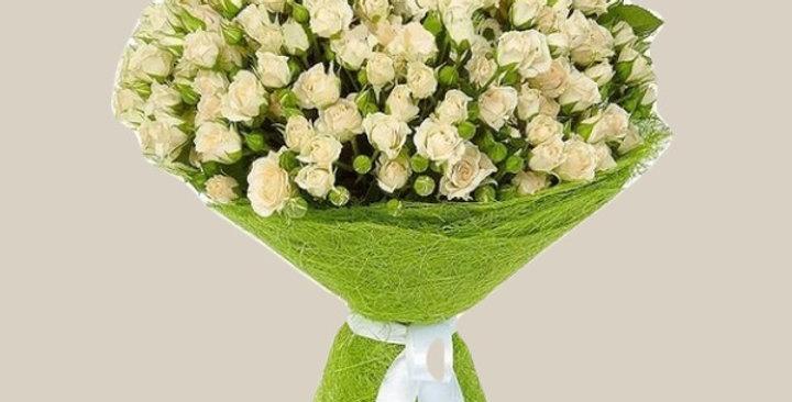 Белая кустовая роза 51шт