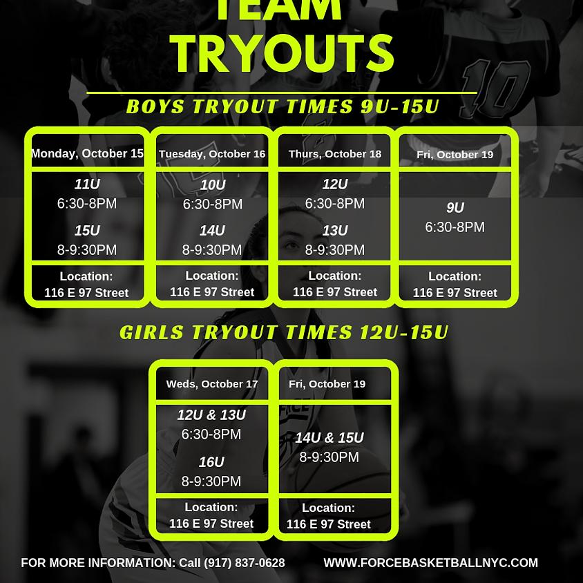 FORCE Basketball's 10U BOYS Travel Team Tryouts (Fall/Winter 2018/19)