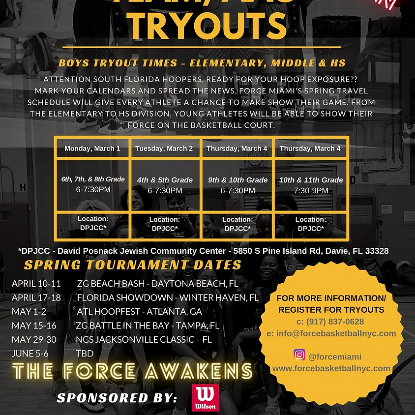 FORCE MIAMI SPRING TRYOUTS