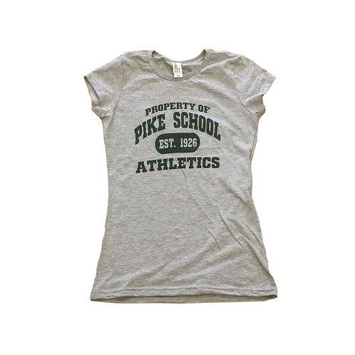 District Ladies tee shirt grey with logo screen