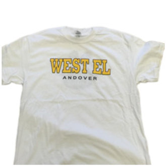Glildan White Short Sleeve Tee with West El Logo