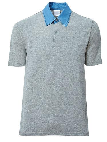 Polo Yaka Tişört Mavi Denim Yaka