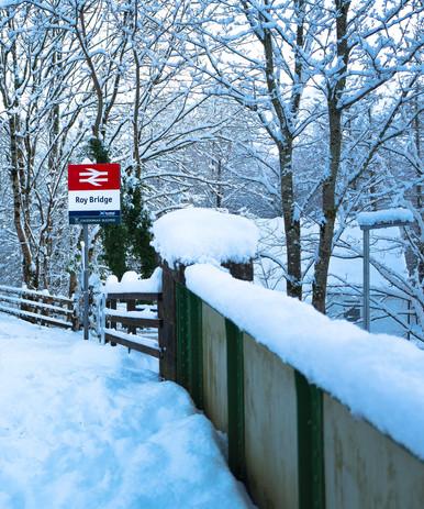 Roy Bridge Station in Snow