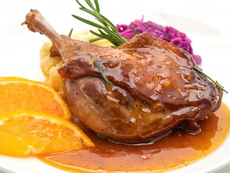 Um prato com pato para um grande dia