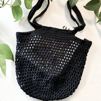 Crochet Boho Tote Bag - Noir