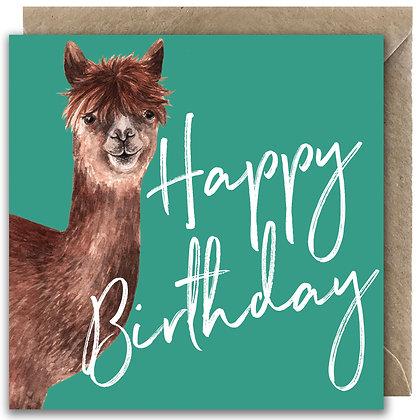 Alpaca Happy Birthday Greeting Card