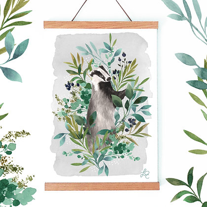 Botanical Badger Fine Art Print