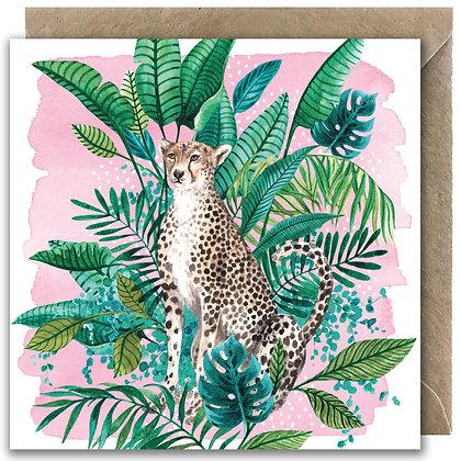 Tropical Cheetah Greeting Card