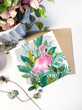 Tropical Flamingo Greeting Card