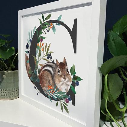 C for Chipmunk Fine Art Print