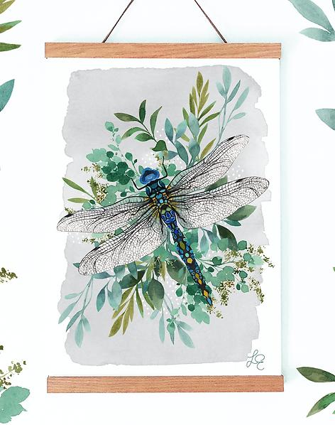 Botanical Dragonfly Print