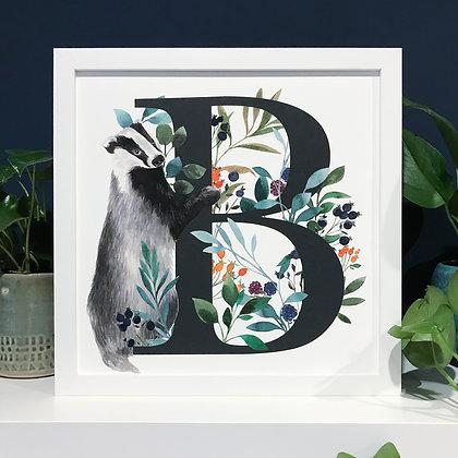 B for Badger Fine Art Print