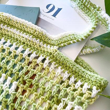 Crochet Boho Tote Bag - Lime Stripe