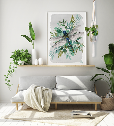 Botanical Dragonfly Print